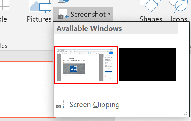 Select your screenshot target from the Screenshots option menu in PowerPoint