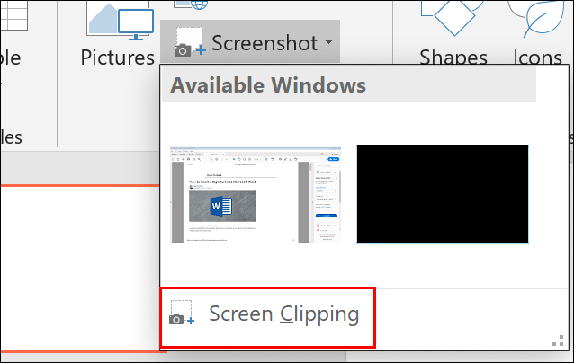 Click Insert > Screenshot > Screen Clipping to take a partial screenshot and paste it into your PowerPoint presentation