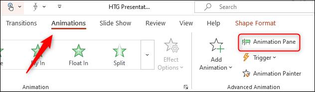 Select animation pane