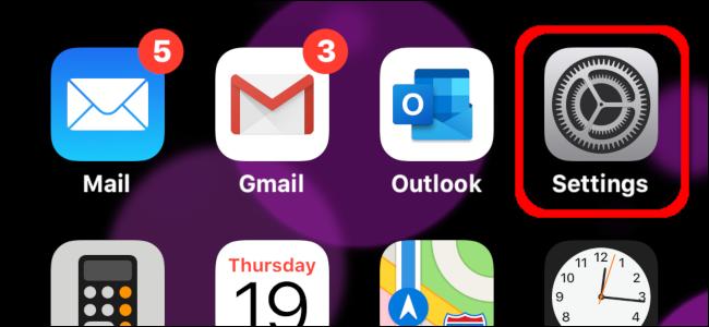 El icono de la aplicación de configuración en un iPhone