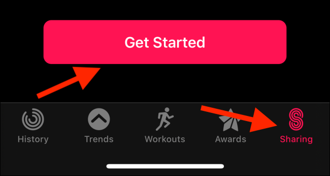 Sharing tab in Activity app