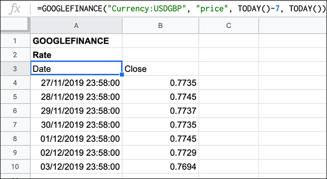 A rolling list of currency exchange rates for the last seven days, shown in Google Sheets using the GOOGLEFINANCE function