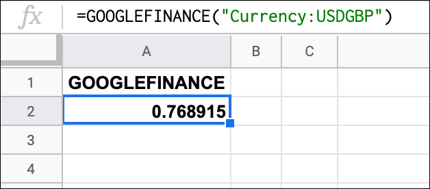 The GOOGLEFINANCE function in Google Sheets, providing a USD to GBP exchange rate