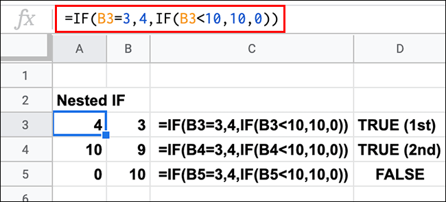 A Google Sheets spreadsheet showing multiple nested IF statements with TRUE and FALSE results