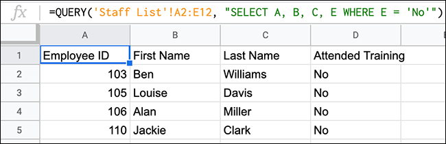 A QUERY function in Google Sheets providing a list of employees who attended a training session.