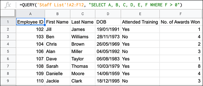 A QUERY function in Google Sheets, using a greater than comparison operator.