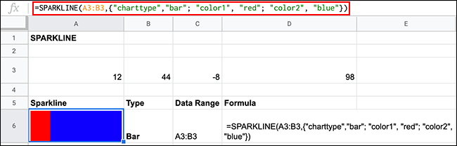 Color formatting options for bar sparkline charts using the SPARKLINE function in Google Sheets