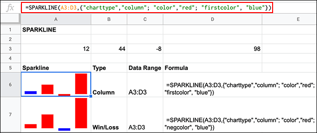 Various color formatting options for SPARKLINE formulae in Google Sheets