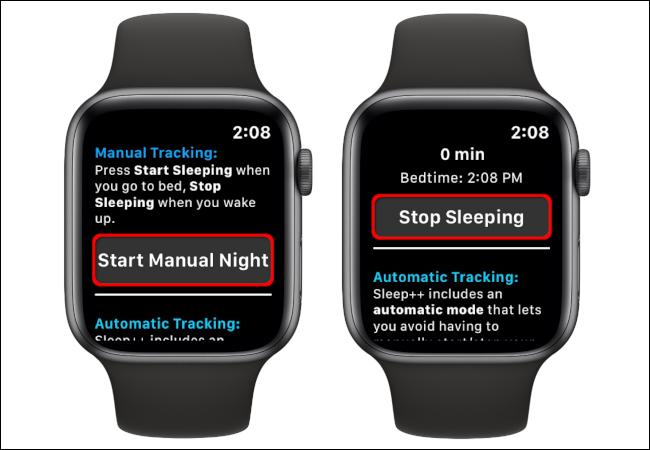 """Tap """"Start Manual Night"""" to start sleep tracking, and then tap """"Stop Sleeping"""" to end sleep tracking."""