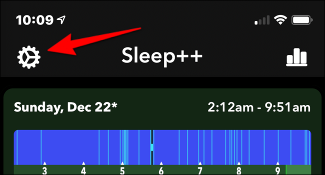 Tap the white gear icon to open the Sleep++ app Settings menu.