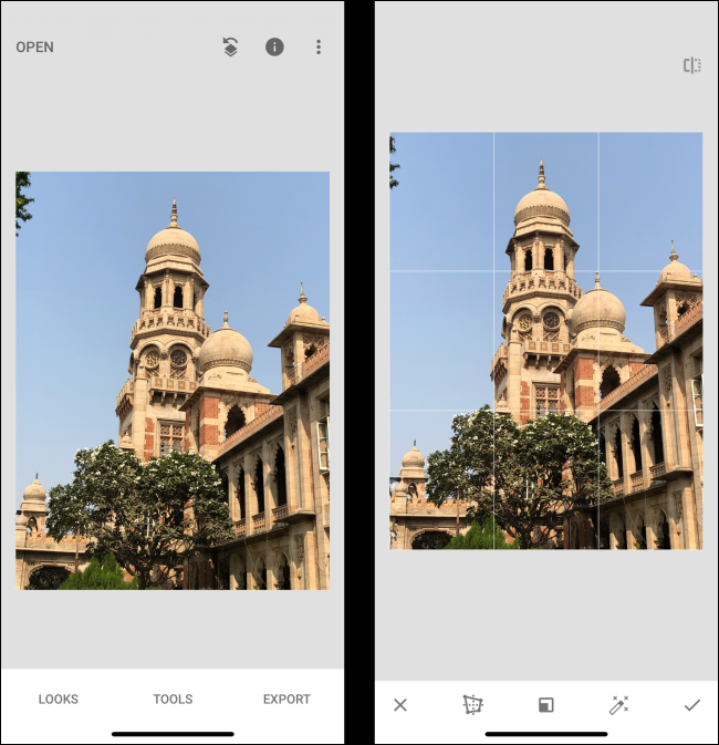 Snapseed editor perspective comparison
