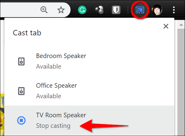 Click the blue Cast button, and then click your Google Home device.