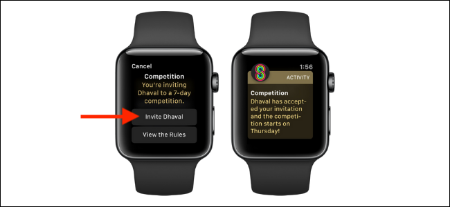 Tap on the Invite Friend button on Apple Watch