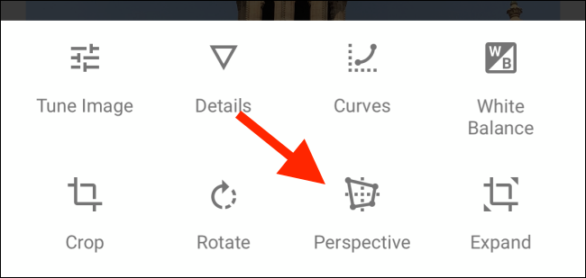 Tap on the Perspective icon