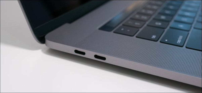 Thunderbolt 3 ports on a MacBook Pro.