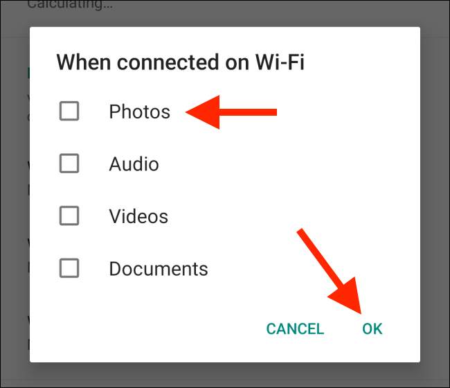 Uncheck media options to stop auto download