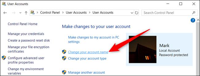 """Haga clic en """"Cambiar el nombre de su cuenta""""."""