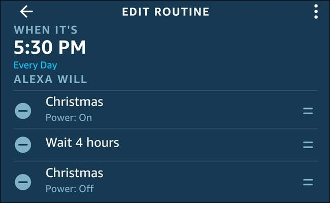 The Alexa routine dialog with a Christmas on, wait 4 hours, Christmas off sequence.