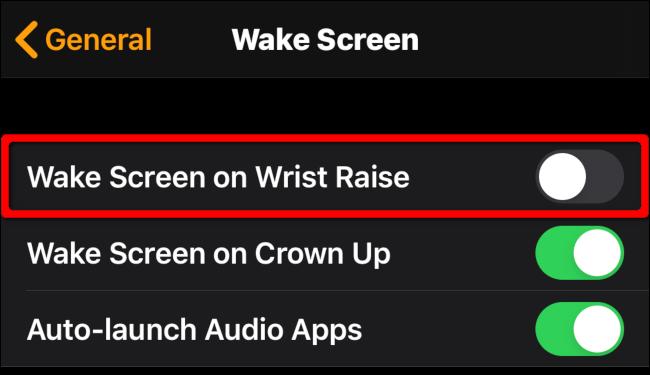 "Toggle-Off ""Wake Screen on Wrist Raise."""