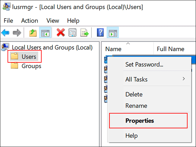"Click ""Users, and then click ""Properties."""
