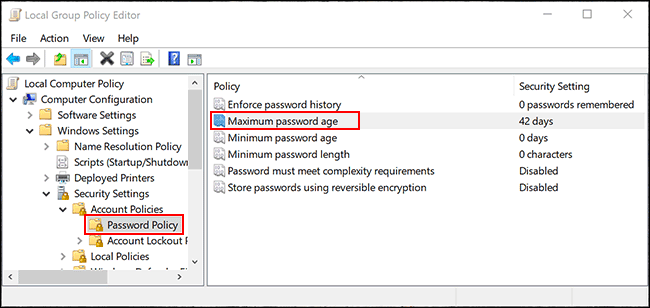 "Double-click ""Maximum Password Age."""