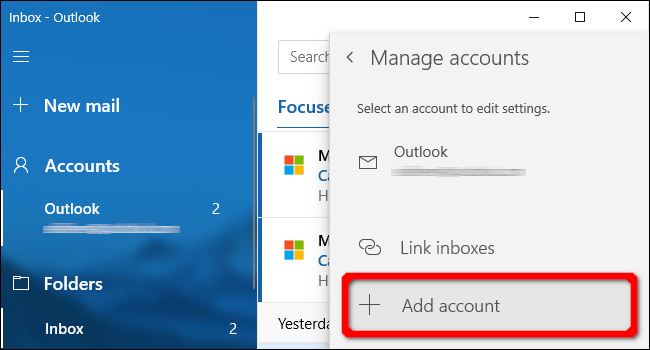 Windows Mail App Add Account
