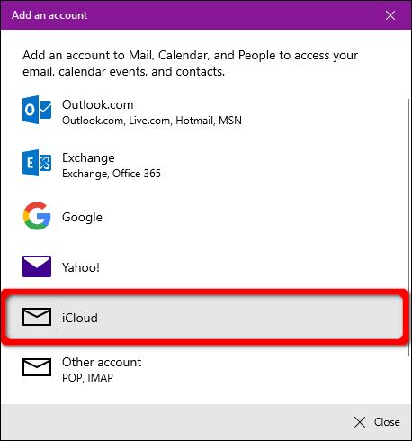 Windows Mail App iCloud Account
