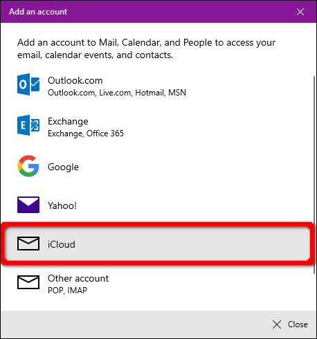 Windows Mail App iCloud Account