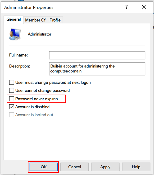 """Uncheck the """"Password Never Expires"""" option, and then click """"OK."""""""