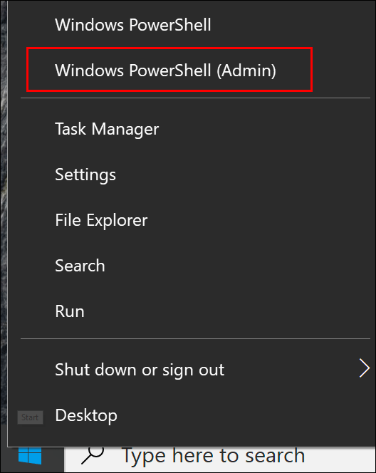 "Click ""Windows PowerShell (Admin)."""
