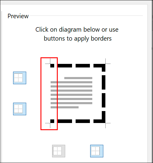 In your Microsoft Word page border settings, click on the individual border lines in the Preview sections to add/remove each line