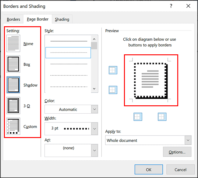"Select your Word border style by clicking one of the options in the ""Setting"" section of the ""Page Border"" tab in the ""Borders and Shading"" dialog box"