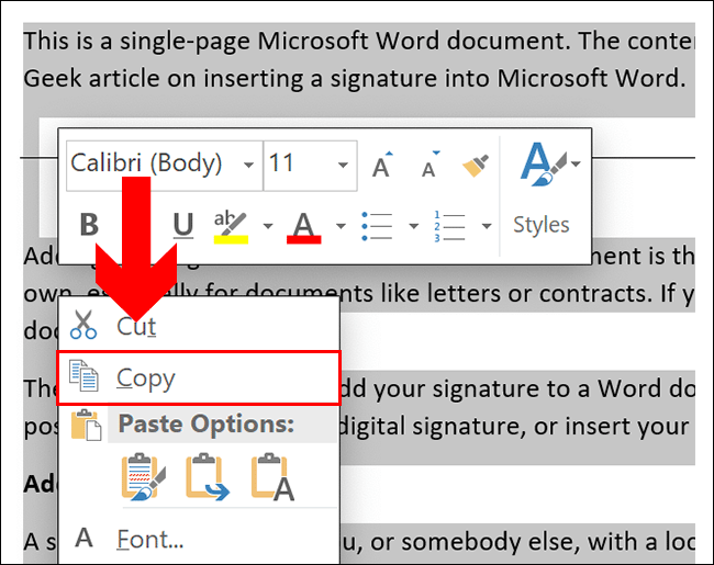 To copy in a Word document, select your content, then press either Ctrl + C or right-click and click Copy