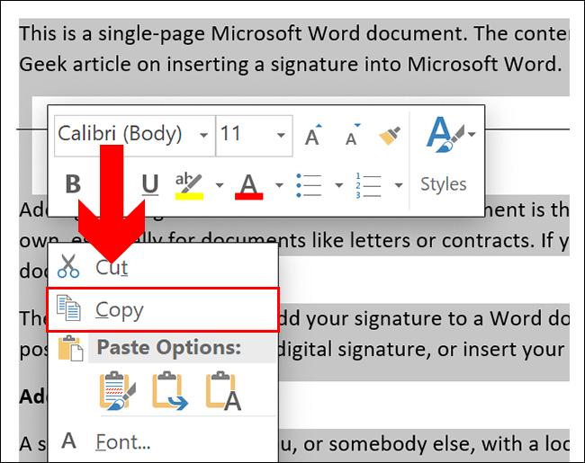 Para copiar en un documento de Word, seleccione su contenido, luego presione Ctrl + C o haga clic derecho y haga clic en Copiar