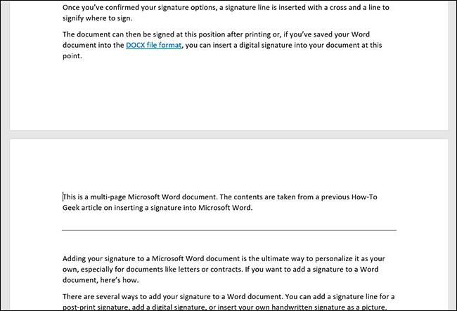 Un documento de Microsoft Word que muestra páginas duplicadas