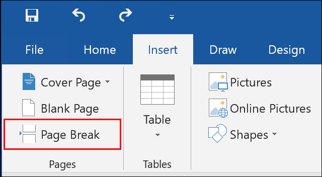 Click Insert > Page Break in Microsoft Word to insert a new page break to your document