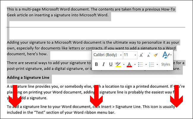To manually select the contents of a Microsoft Word page, place your document cursor at the start of the page and then drag down towards the bottom