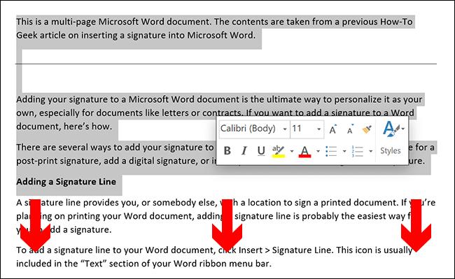 Para seleccionar manualmente el contenido de una página de Microsoft Word, coloque el cursor del documento al comienzo de la página y luego arrastre hacia abajo hacia la parte inferior