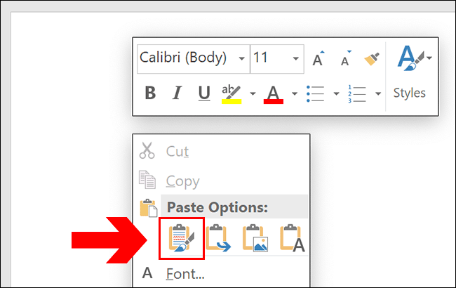 To paste in Word, press Ctrl+V or right-click your page, clicking one of the paste options.