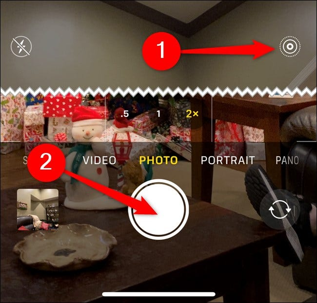 Apple iPhone Enable Live Photo and then Tap Shutter Button