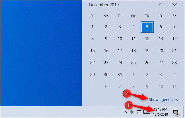 Showing the agenda in Windows 10's clock popup.