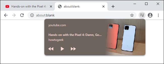 Media playback controls on Chrome 79's toolbar.