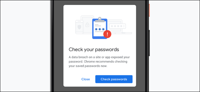Chrome's notification when you use a leaked password on a smartphone.