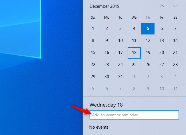 Adding an event to your calendar from the Windows 10 taskbar's clock panel.