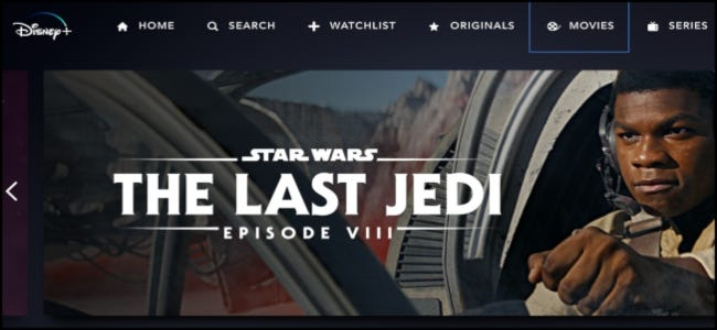 Disney+ Main Screen