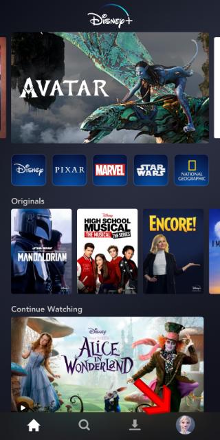 Disney+ app main screen