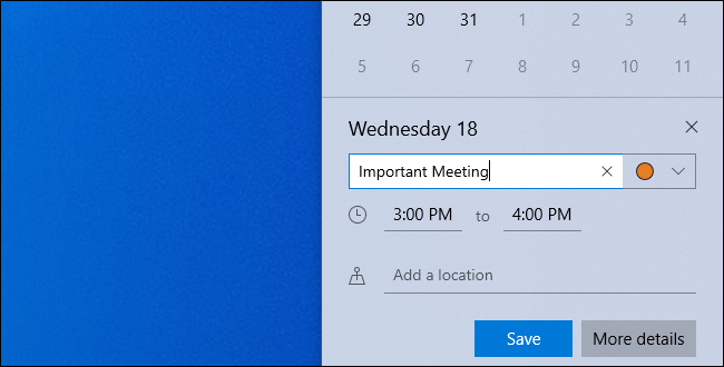 Editing an event's details while adding it to Windows 10's clock panel.
