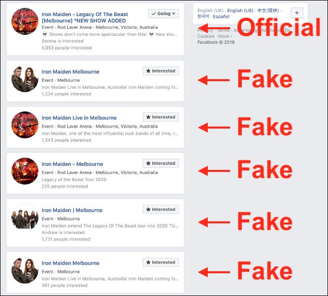 Duplicate False Events on Facebook