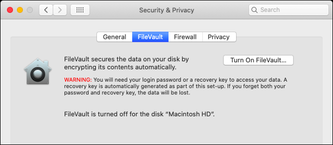 Enable Filevault on macOS
