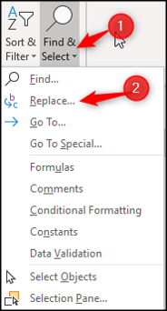 Opening the Find and Replace dialog box